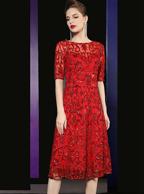 A-Line Red Sequins Short Knee Length Mother Of The Bride Dress