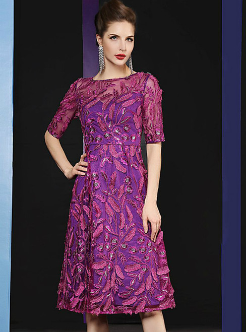 A-Line Purple Embroidery Sequins Short Sleeve Mother Of The Bride Dress