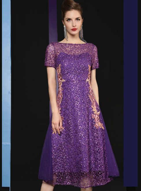 A-Line Purple Sequins Lace Short Sleeve Embroidery Mother Of The Bride Dress
