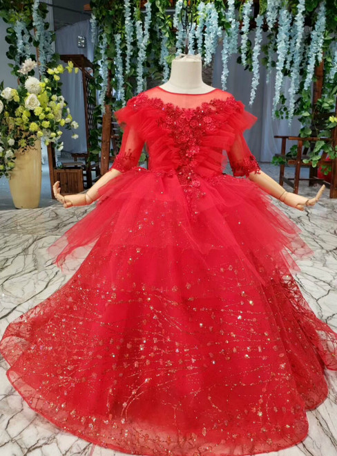 Red Ball Gown Tulle Sequins Appliques Backless Short Sleeve Flower Girl Dresses