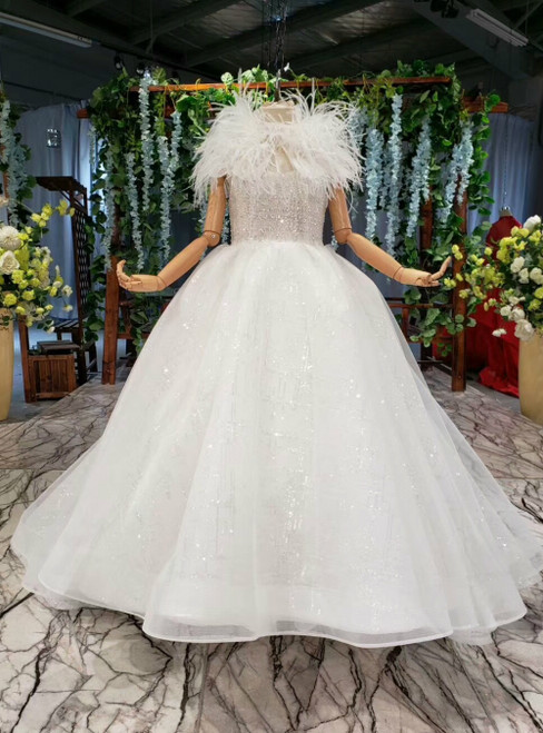 White Ball Gown Tulle Sequins Flower Girl Dress With Feather
