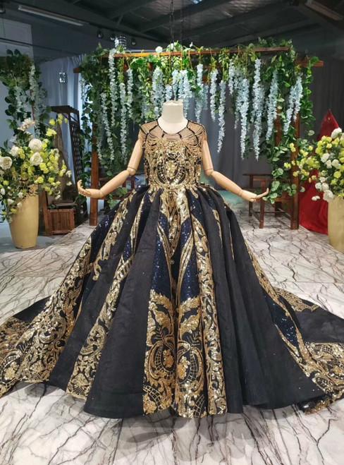 Navy Blue Ball Gown Gold Sequins Backless Beading Luxury Flower Girl Dress