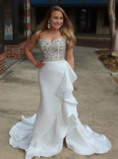 White Sheath Satin Sweetheart Beading Prom Dress With Side Split