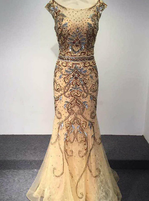 New Fashion Dubai Arabic Luxury Mermaid Prom Dress Beaded Crystal O-Neck