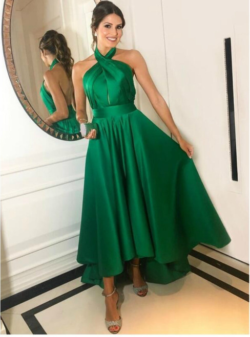 A-Line Green Satin Halter Backless Pleats Long Prom Dress