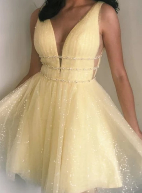 A-Line Yellow Tulle Sequins V-neck Beading Homecoming Dress