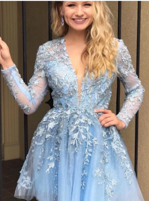 A-Line Blue Tulle V-neck Appliques Long Sleeve Homecoming Dress