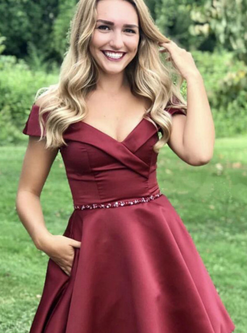 A-Line Burgundy Satin Off the Shoulder Beading Homecoming Dress