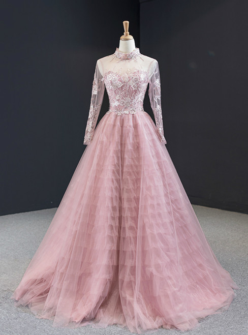 Pink Tulle High Neck Long Sleeve Backless Appliques Prom Dress