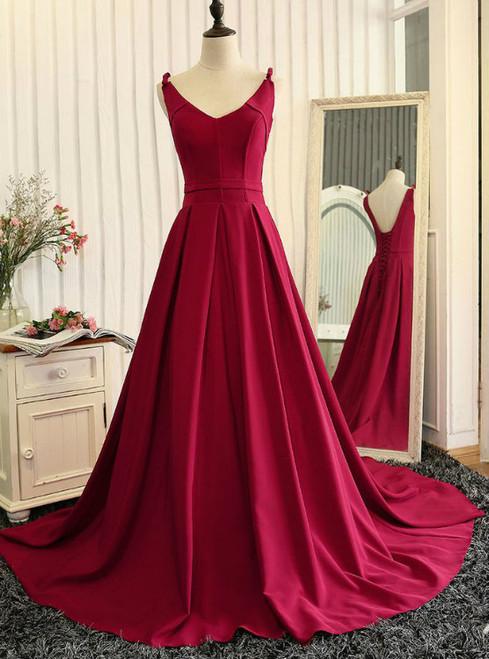V-neckline Evening Dress Burgundy Prom Dress A line Burgundy Graduation Dress