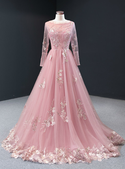 A-Line Pink Tulle Appliques Sequins Long Sleeve Prom Dress