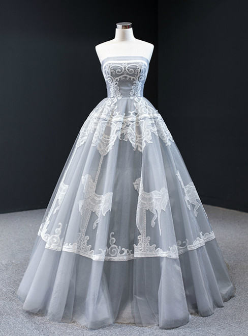 Gray Ball Gown Tulle Appliques Embroidery Strapless Prom Dress