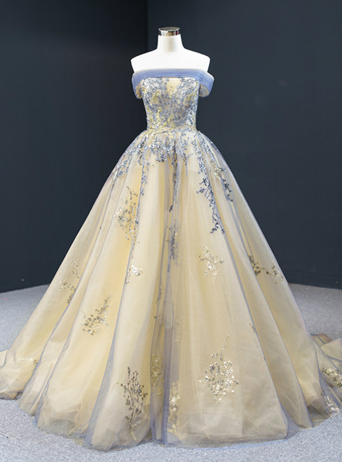 Gold Ball Gown Tulle Off the Shoulder Sequins Prom Dress