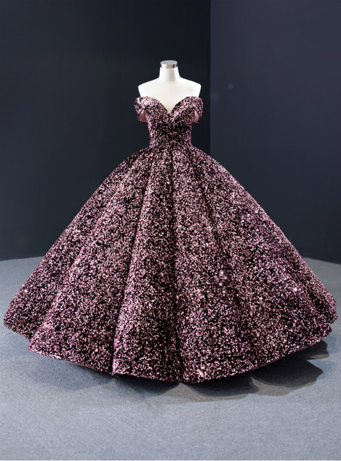 Pink Ball Gown Sequins Off the Shoulder Luxury Prom Dress