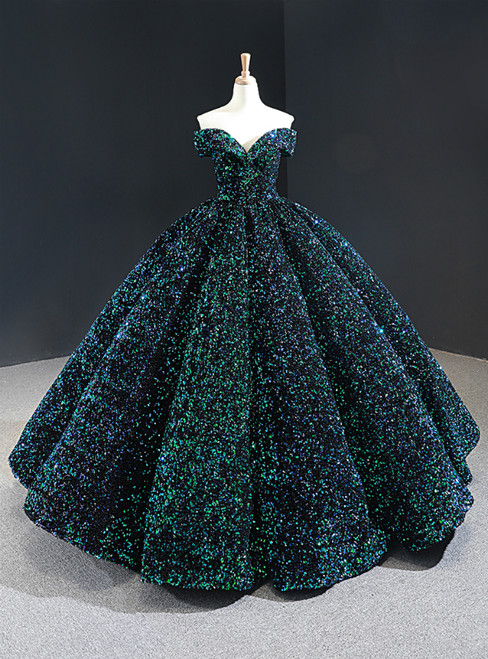 Green Ball Gown Sequins Off the Shoulder Luxury Prom Dress