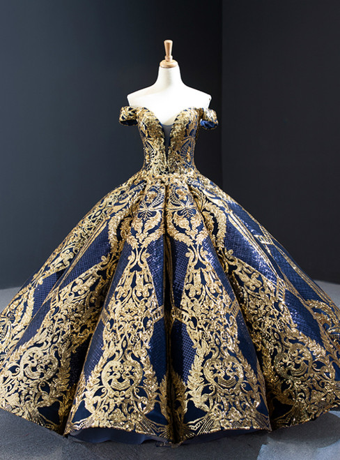 Blue Ball Gown Gold Sequins Off the Shoulder Deep V-neck Prom Dress