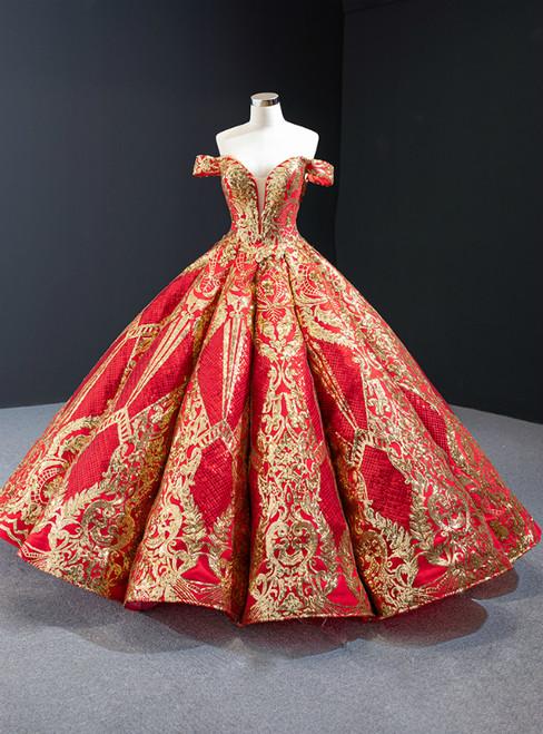 Red Ball Gown Gold Sequins Off the Shoulder Deep V-neck Prom Dress