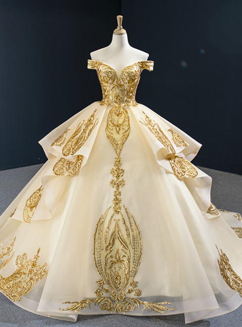 Champagne Ball Gown Tulle Gold Sequins Appliques Off the Shoulder Prom Dress