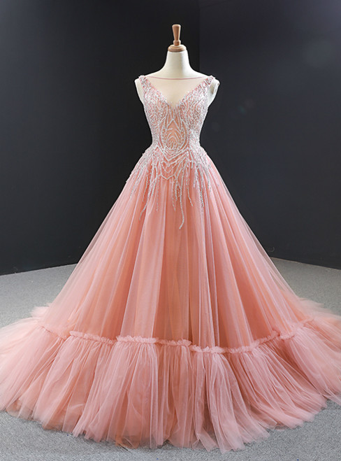 Pink Ball Gown Tulle Beaidng Backless Long Prom Dress