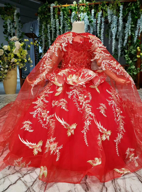 Red Ball Gown Tulle Embroidery Appliques Beading Flower Girl Dress With Shawl