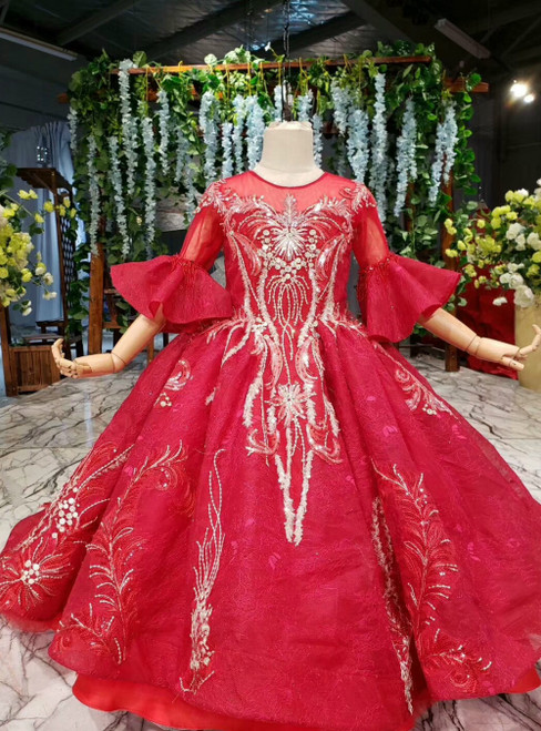 Red Ball Gown Lotus Leaf Sleeve Backless Appliques Beading Flower Girl Dress