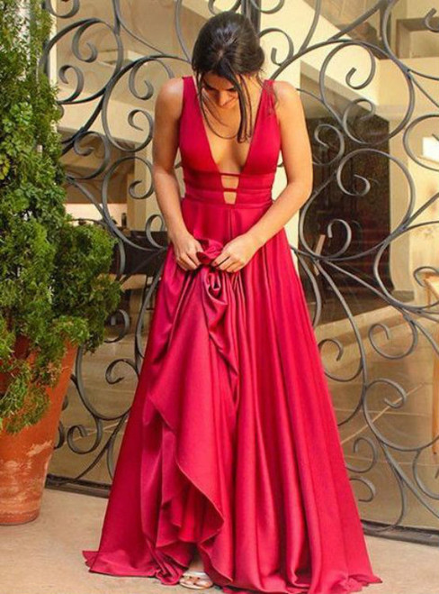 Sexy Red Deep V-neck Satin Backless Prom Dress