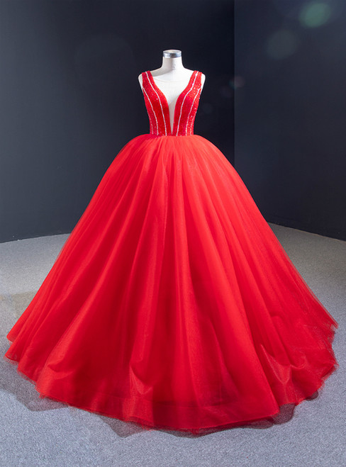 Red Ball Gown Tulle See Through V-neck Backless Beading Prom Dress