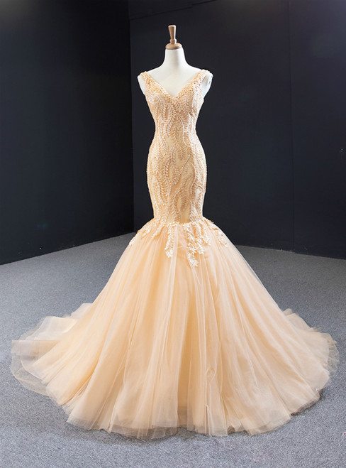 Sexy Champagne Mermaid Tulle Appliques V-neck Prom Dress