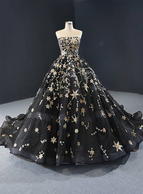 Black Ball Gown Tulle Sequins Strapless Sleeveless Luxury Prom Dress