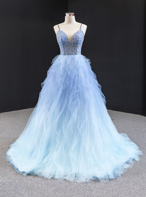 Blue Ball Gown Tulle Spaghetti Straps Beading Prom Dress