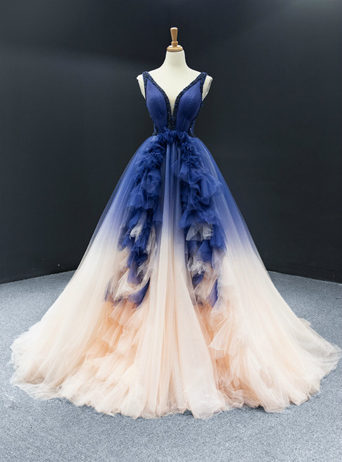 Dark Blue And Champagne Tulle V-neck Backless Beading Prom Dress