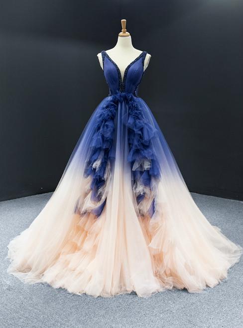 Dark Blue And Champagne Tulle V-neck Backless Beading Prom Dress
