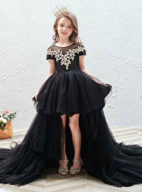 In Stock:Ship in 48 Hours Black Hi Lo Tulle Cap Sleeve Flower Girl Dress
