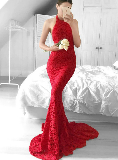 Mermaid Red Lace Halter Backless Sweep Train Prom Dress