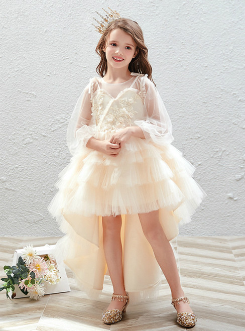 In Stock:Ship in 48 Hours Champagne Hi Lo Tulle Long Sleeve Flower Girl Dress