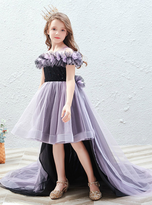 In Stock:Ship in 48 Hours Purple Hi Lo Tulle Sequins Flower Girl Dress