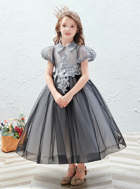 In Stock:Ship in 48 Hours Gray Tulle Puff Sleeve Appliques Flower Girl Dress