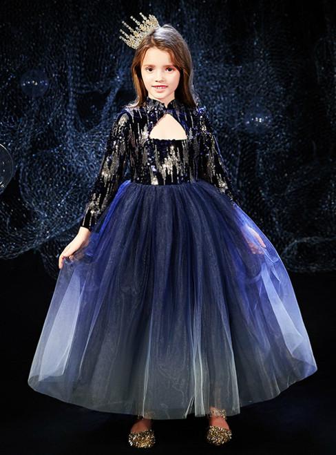 In Stock:Ship in 48 Hours Blue Tulle Long Sleeve Flower Girl Dress