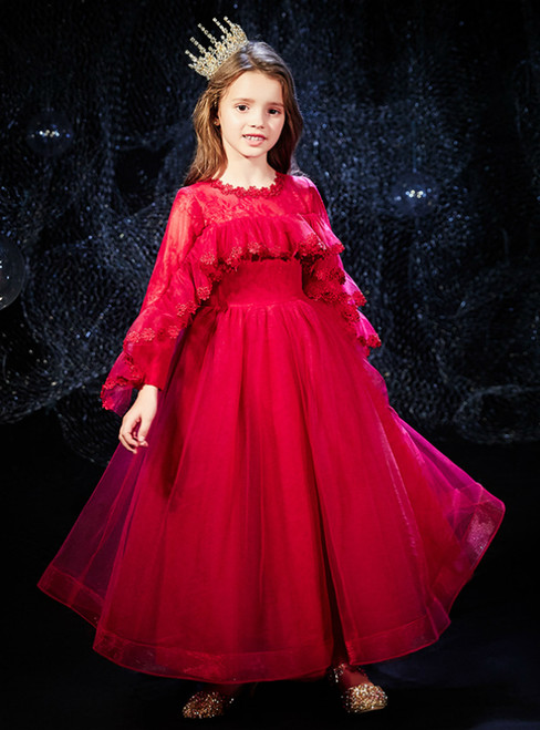 In Stock:Ship in 48 Hours Red Long Sleeve Tulle Flower Girl Dress