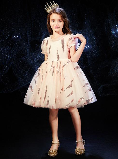 In Stock:Ship in 48 Hours Champagne Tulle Short Sleeve Flower Girl Dress