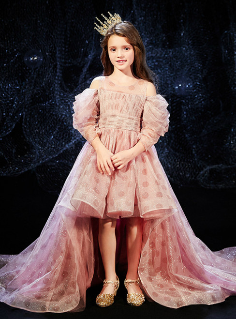 In Stock:Ship in 48 Hours Pink Tulle Long Sleeve Sequins Flower Girl Dress