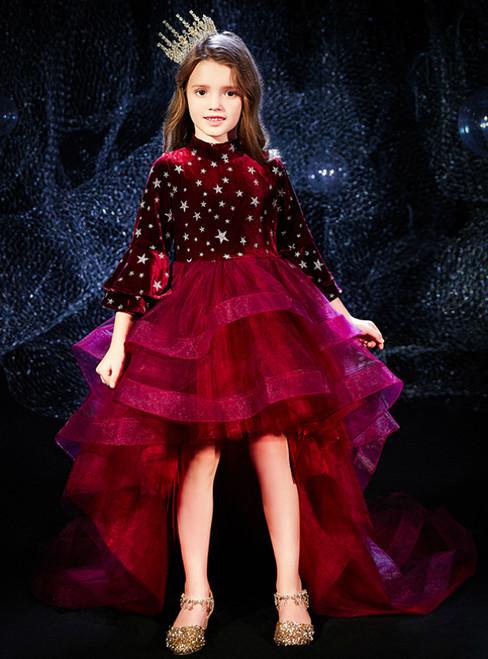 In Stock:Ship in 48 Hours Burgundy Hi Lo Tulle Velvet Flower Girl Dress
