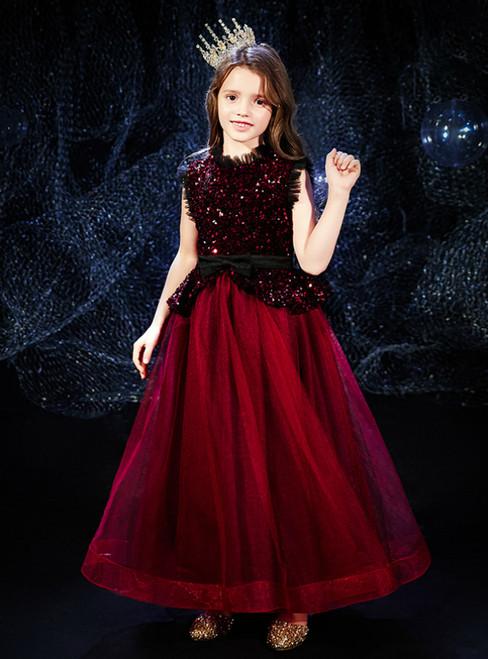 In Stock:Ship in 48 Hours Burgundy Tulle Sequins Sleeveless Flower Girl Dress