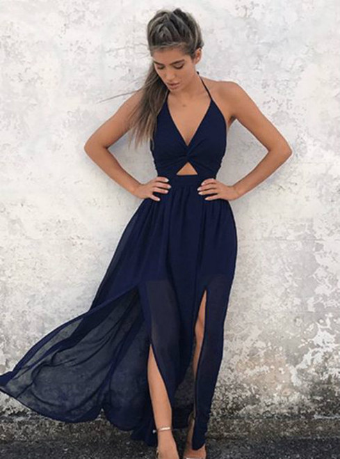 A-Line Halter Floor-Length Backless Navy-Blue Chiffon Prom Dress