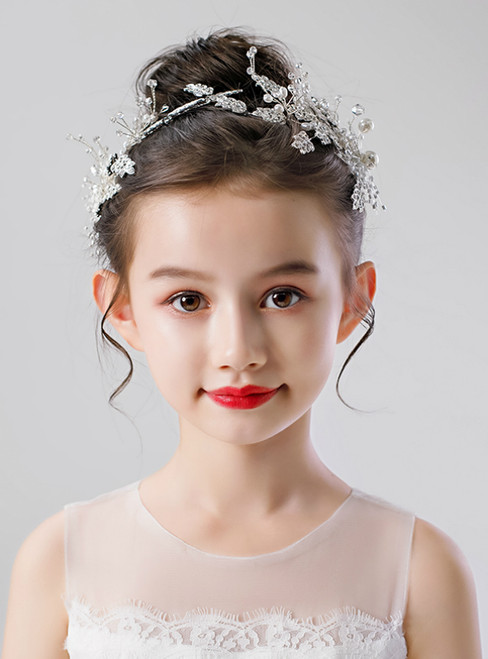 Girls Princess Barrette Handmade Rhinestone Headdress