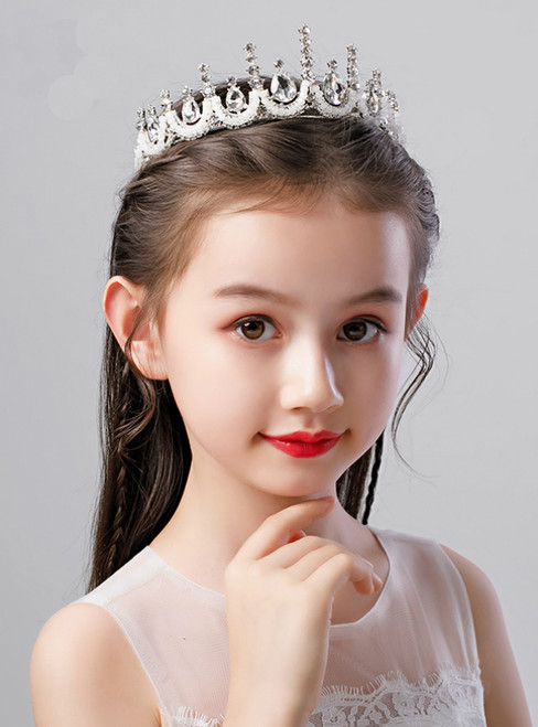 Children's White Crystal Handmade Beading Crown Headdress