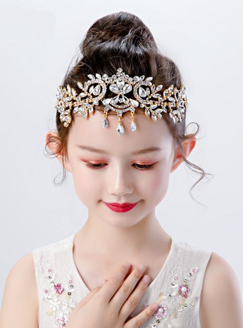 Girls Gold Headwear Rhinestone Forehead Ornaments