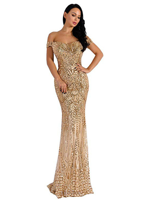 In Stock:Ship in 48 Hours Sexy Gold Mermaid Sequins Off the Shoulder Formal Party Dress