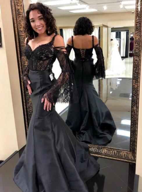 Black Mermaid Satin Spaghetti Straps Lace Long Sleeve Prom Dress