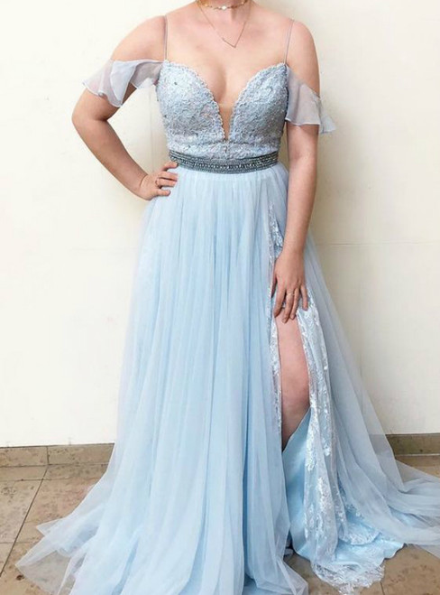 Light Blue Tulle Spaghetti Straps Lace Beading Prom Dress With Side Split